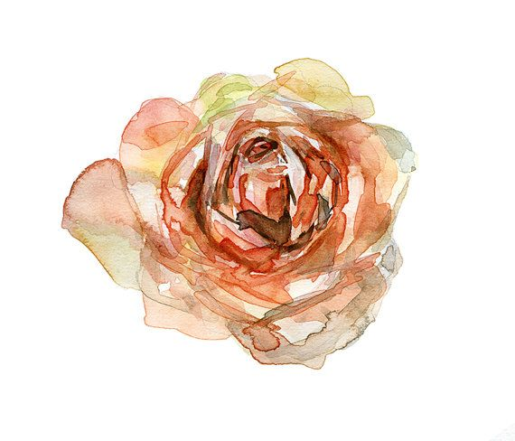 Rose Watercolor Original Flower Painting Orange Rose Aquarelle