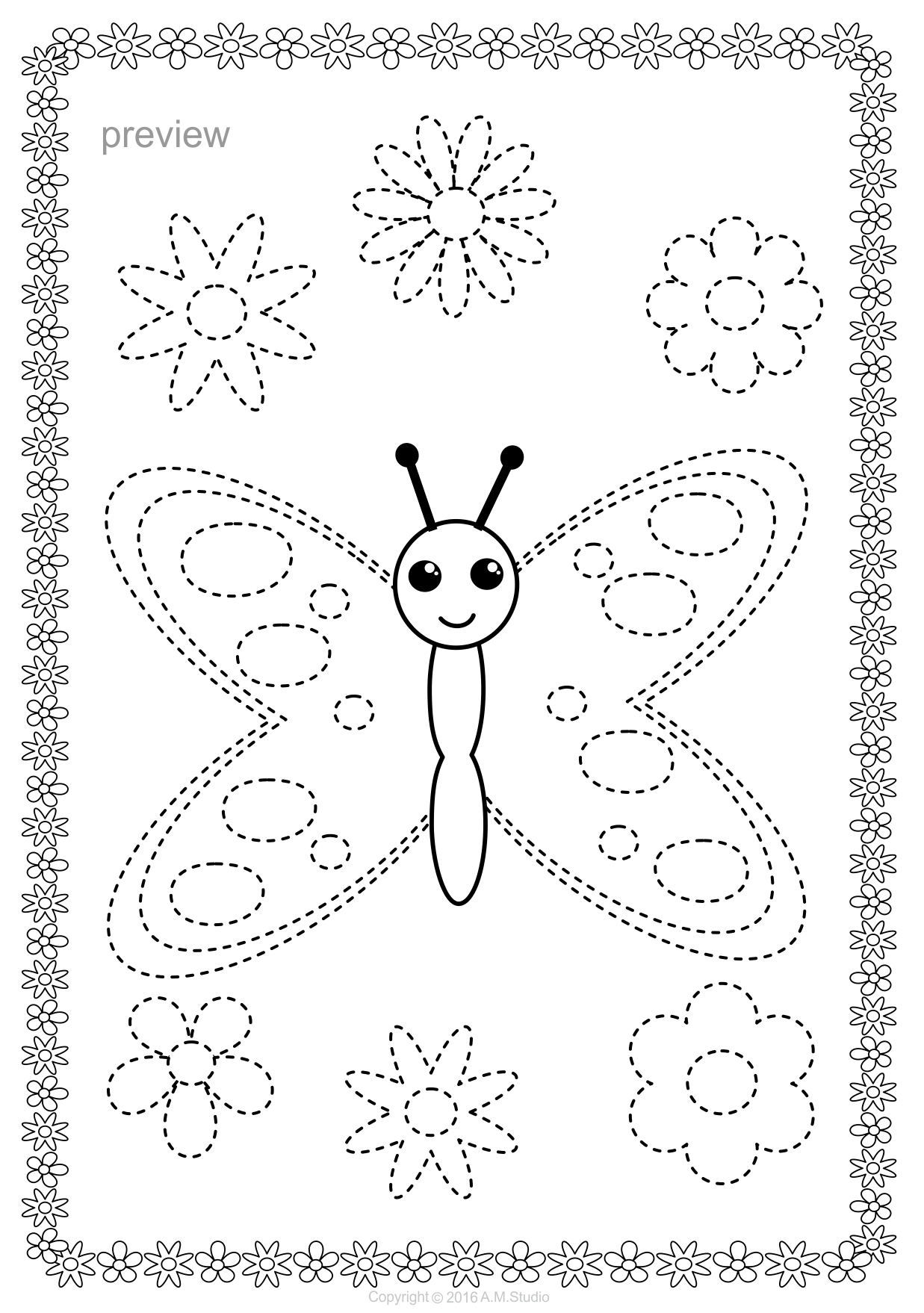Butterflies Trace And Color Pages Fine Motor Skills Pre