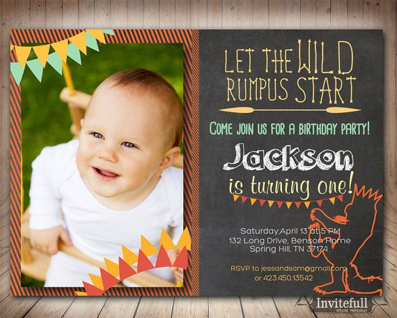 Boys 1st Birthday Invitation Where the wild things are invitation