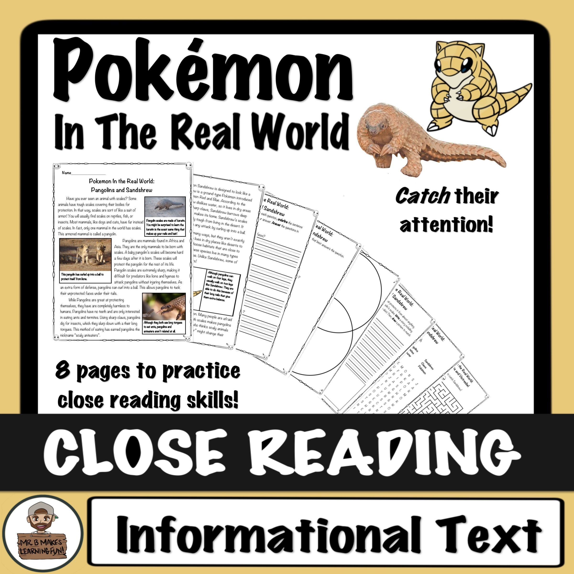 Pokemon Close Read And Worksheets Activities Pangolins And Sandshrew Close Reading High Interest Reading Passages Reading Skills [ 2400 x 2400 Pixel ]