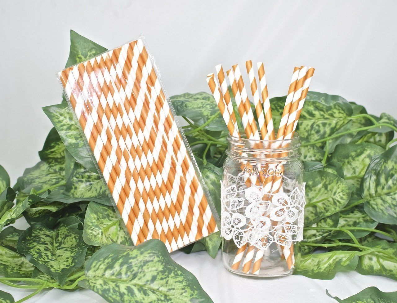 Orange Stripes Paper Straws (25 pieces)