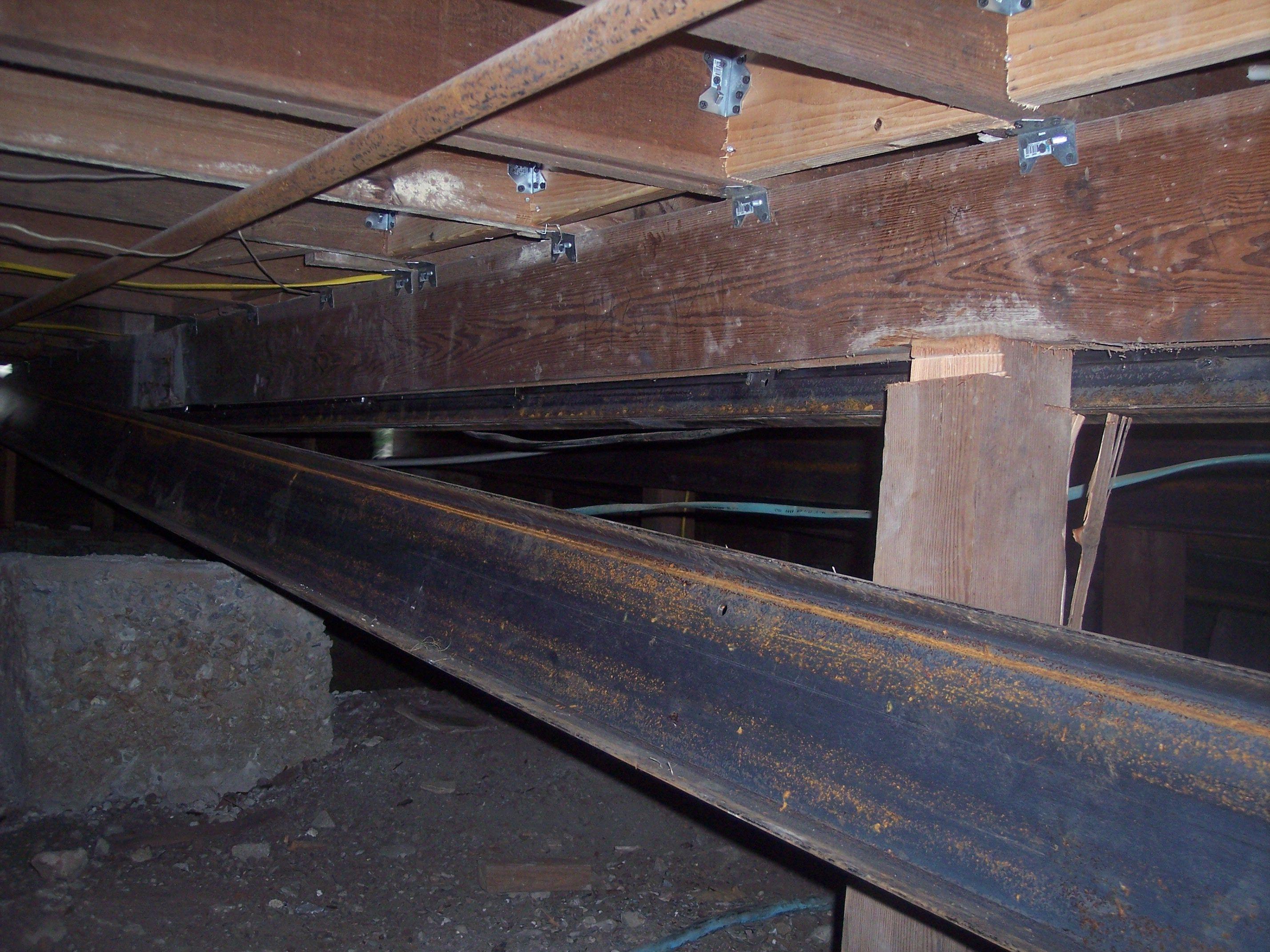 The Basement Kings Steel C Channel Installation Encased Around Wood Beams Basement Repair Basement Wood Beams