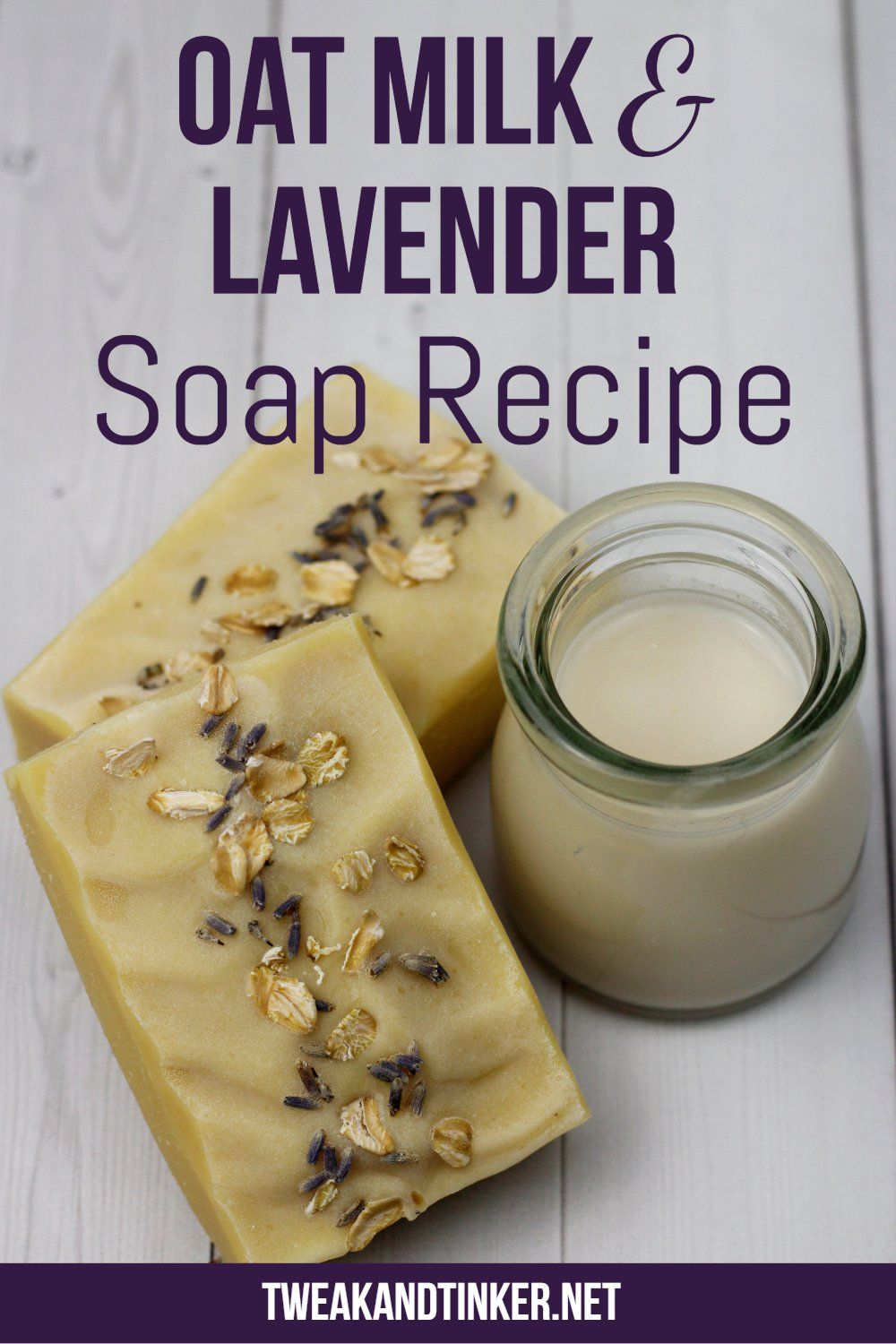 This cold process soap is new spin on the traditional lavender soap recipe with the addition of silky oat milk and a dash of geranium essential oil. So soothing!