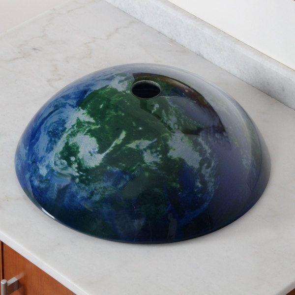 Elite Earth Pattern Tempered Glass Bathroom Sink | Overstock.com Shopping - The Best Deals on Bathroom Sinks