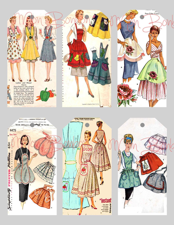 sewing printables free | ... Vintage Sewing Pattern Aprons Tags ...