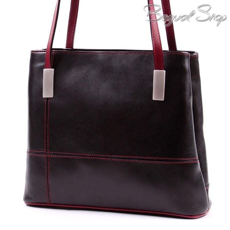 Fekete-bordó női bőr táska. Szépen kidolgozott olasz bőr táska igényes  hölgyeknek! Két 62a39cf41e