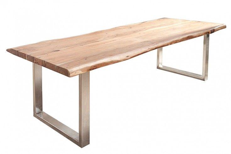 Massiver Baumstamm Tisch Mammut 220cm Akazie Massivholz Industrial Look Kufengestell Mit 6 Cm Dicker Tis Baumstamm Tisch Esstisch Industrial Esstisch Baumstamm