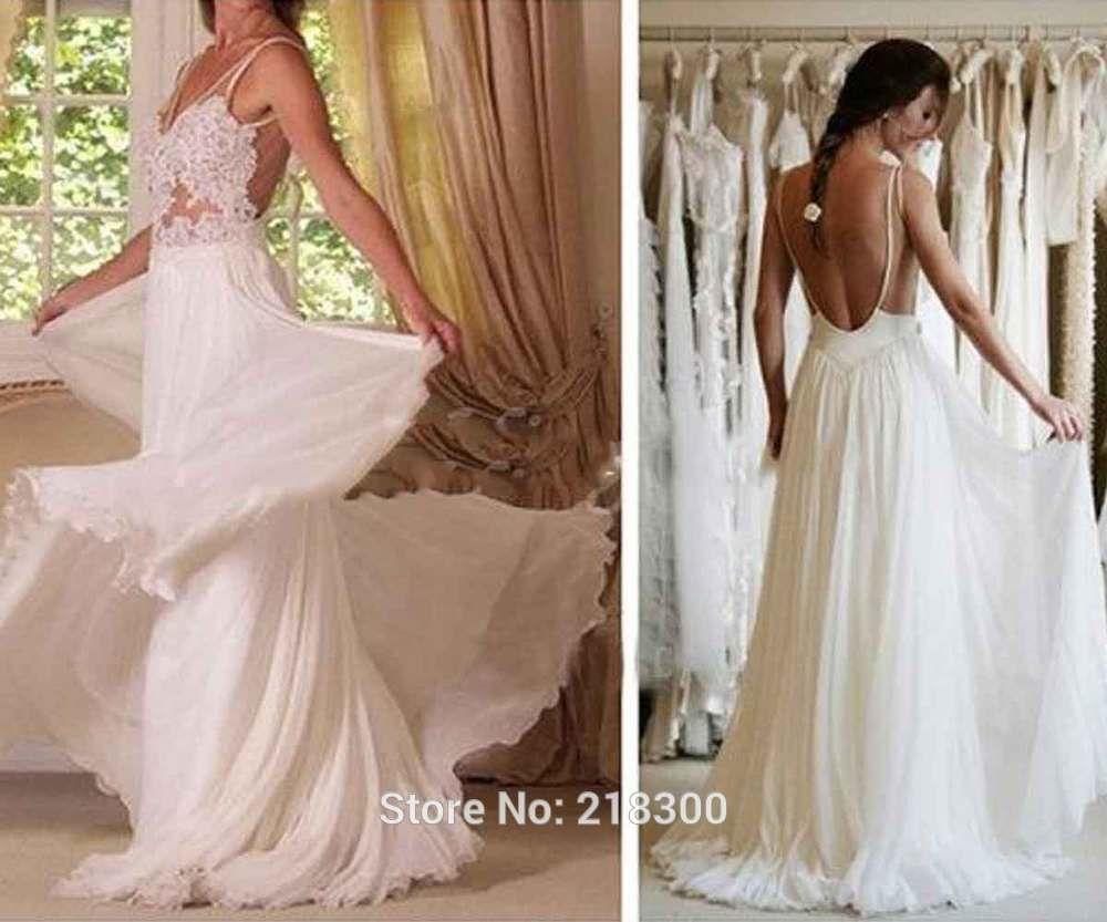 Wedding dress back  Click to Buy ucuc Lace Backless Chiffon Wedding Dress Open Back Beach