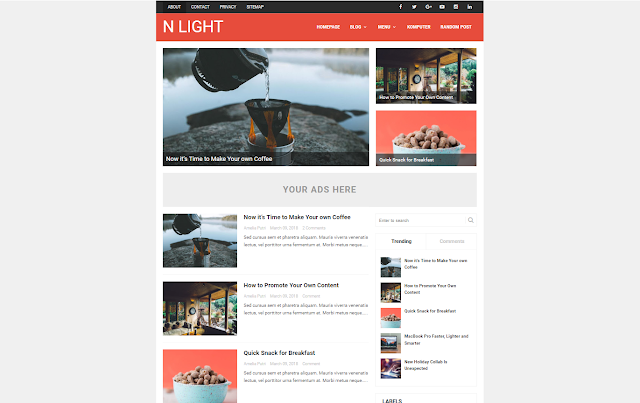 N Light Responsive and SEO Friendly Blogger Template