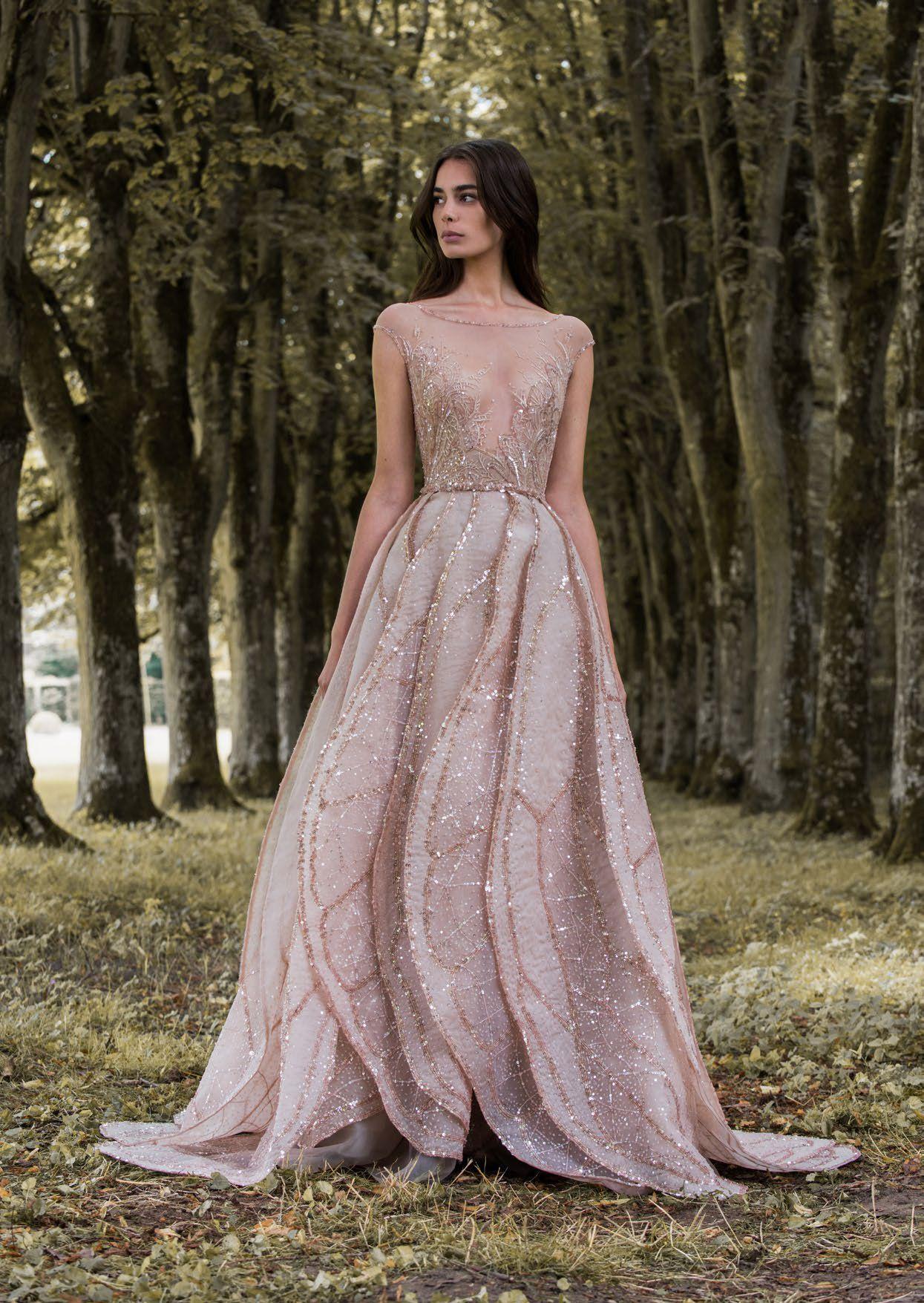 Rose gold dragonfly gossamer wing-inspired wedding dress ...