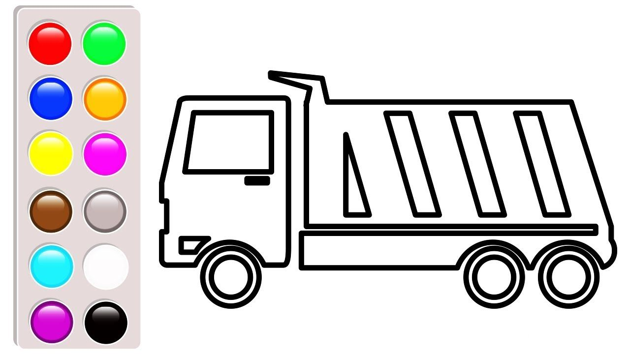 Car and truck coloring pages for kids, Learn colors with dump truck ...