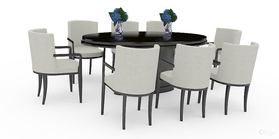 Sunbird Contemporary Glass 8 Seater Dining Table Off White Chairs
