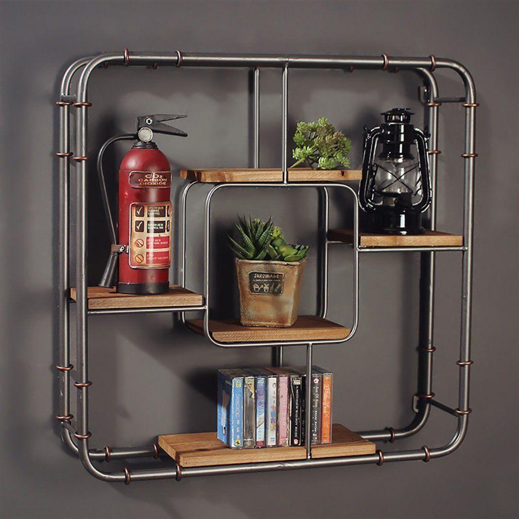 Erstaunlich Deko Wandregal Iron Industrial Style Wand Hängen Regal Wand Schlafzimmer  Retro Wohnzimmer Dekoration Bücherregal