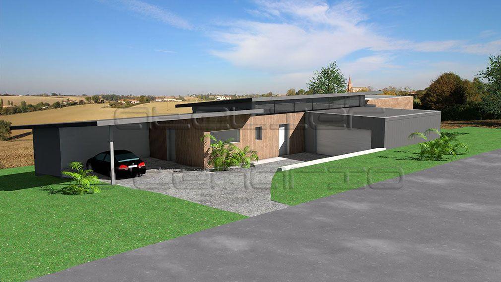 maison à toit zinc sur terrain en pente archi Pinterest - plan de maison sur terrain en pente