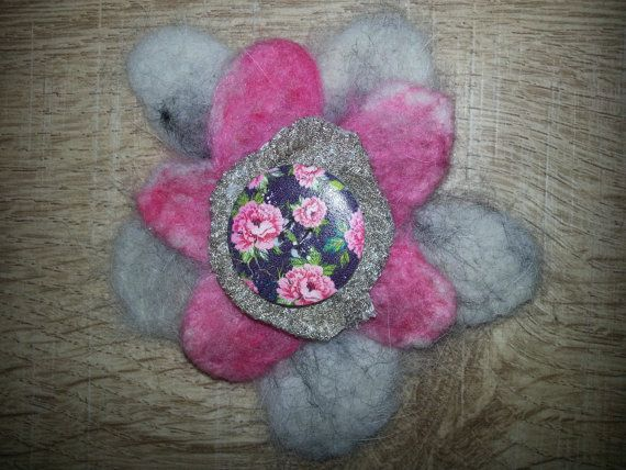 Felted Husky fur and wool flower brooch.