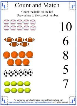 Learn To Count Counting Worksheets Free Preschool Worksheets Sports Themed Lessons Preschool Learning Activities
