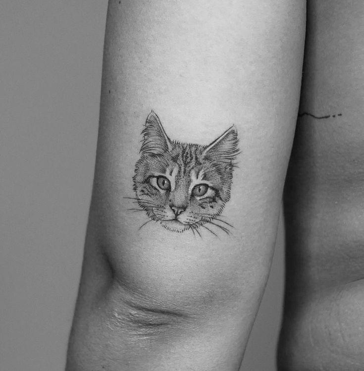 "Minnie's Instagram photo: ""Lil kitty for lovely Sophie 🐯❤️ #kitty #cat #cattattoo #cattoo #cutetattoo #animaltattoo #pettattoo #mikepike #dotwork"""
