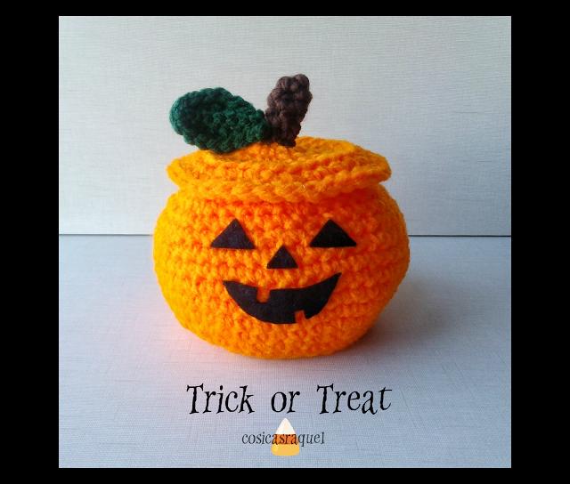 cosicasraquel: Cesta Calabaza Crochet para chuches Halloween | cat ...