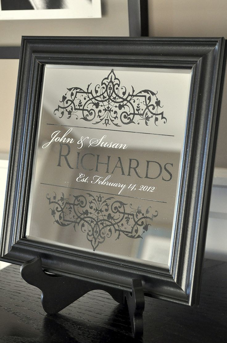 cricut vinyl projects   Family Name Sign Personalized Mirror
