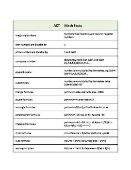 150 Must Know Math Facts for the ACT (Handout / Study Aid ...