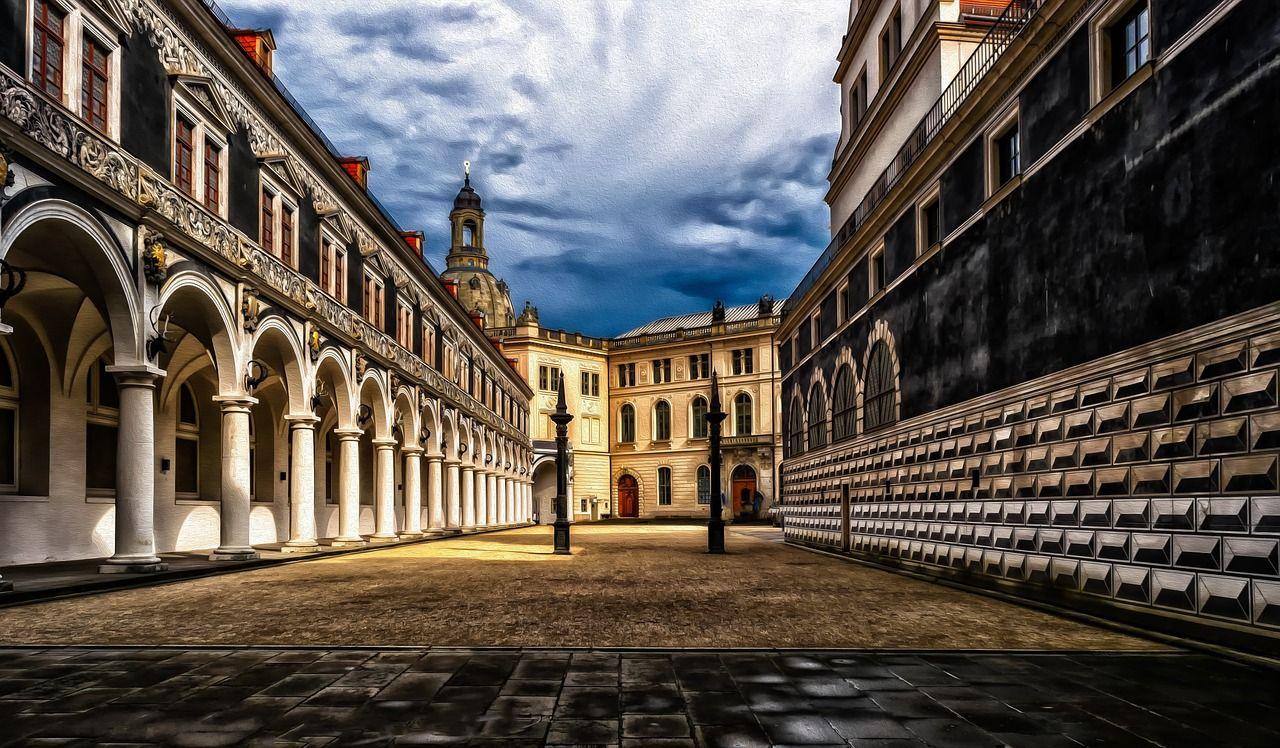 Germany Dresden Castle Courtyard Saxony Germany