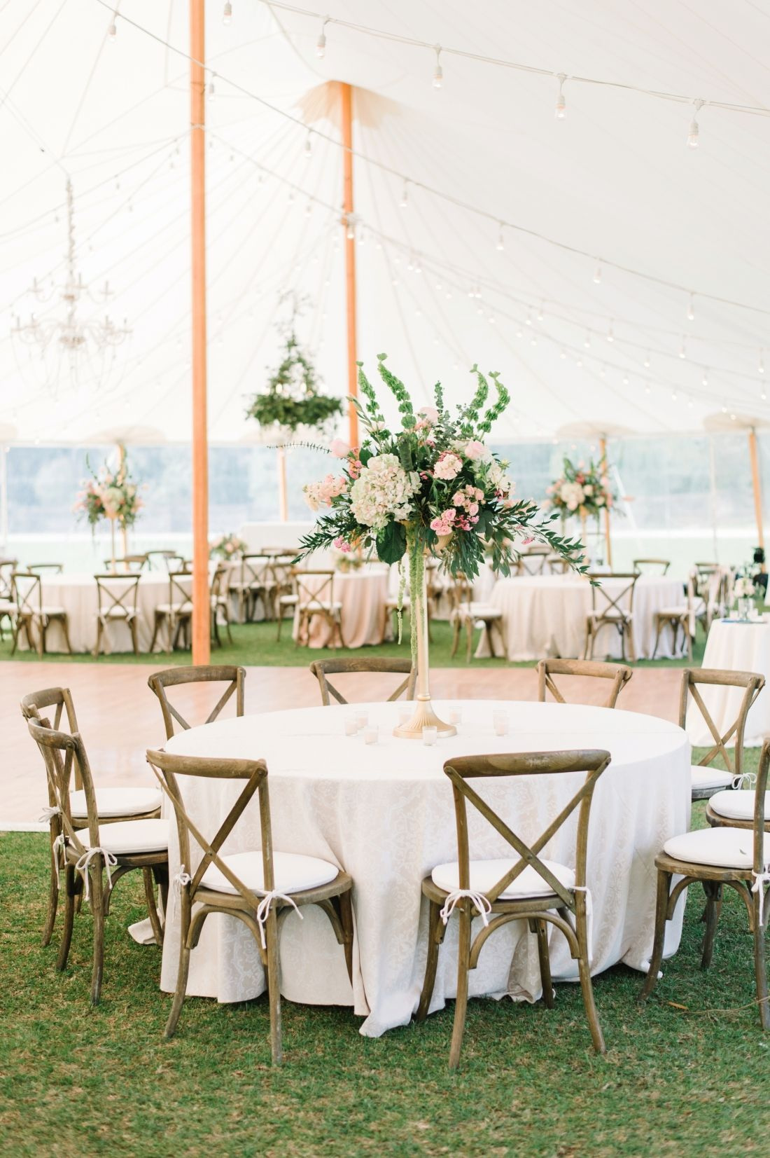 Blush, ivory, gold and green wedding reception decor at a Middleton ...
