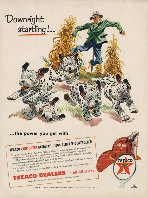 1955 Texaco Gasoline Ad Scarecrow Dalmatian Dogs by AdVintageCom