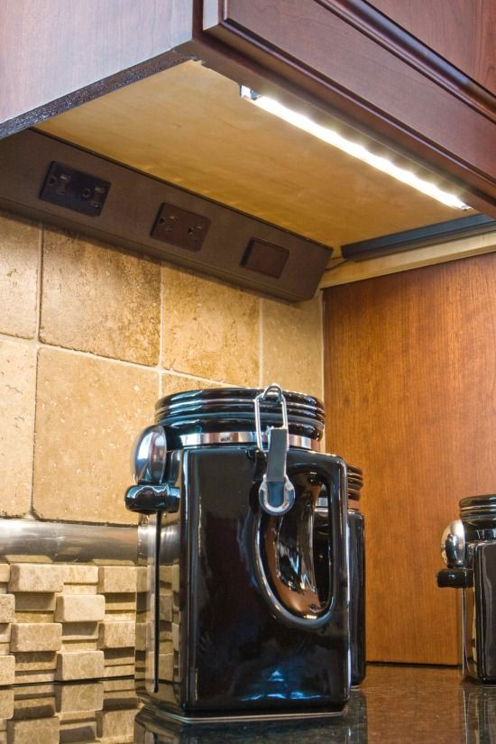 Hidden kitchen outlets and under-cabinet lighting | kitchen remodel on