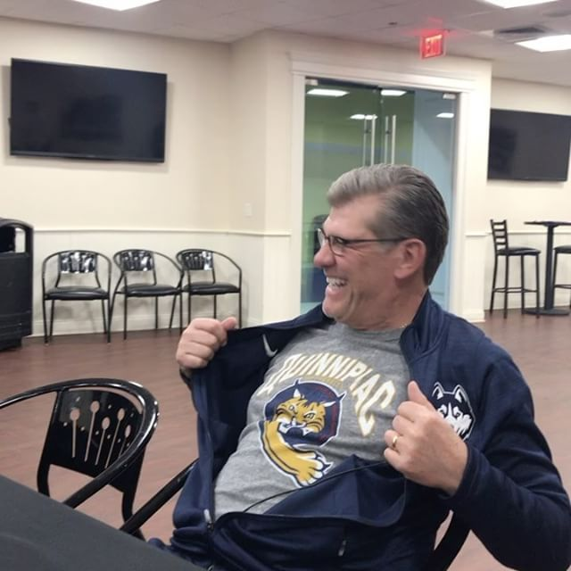Geno Auriemma wears a Quinnipiac shirt-THIS is so awesome. CT Basketball whether you're a fan or not is really something to be proud of..and even though my UCONN men didn't do too well can't wait for season to start again! ❤#2014..we'll be back.