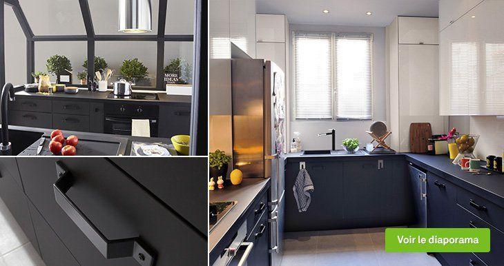 Meuble de cuisine noir DELINIA Mat edition Leroy Merlin déco - meuble de cuisine gris anthracite
