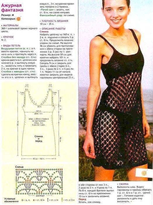 Negro Coverup Strappy vestido de crochet libre patrón gráfico ...