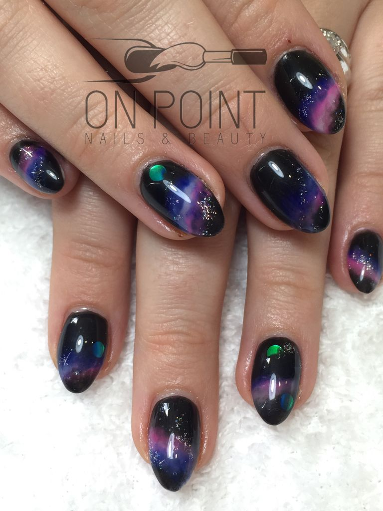 Fluid Nail Design Acrylic Nails With Art Galaxy Almond Glitter