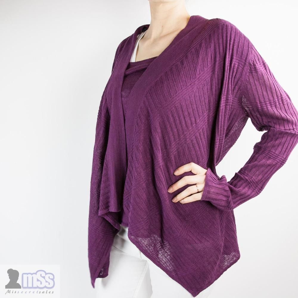 FWM FENN WRIGHT MANSON 2 IN 1 Purple Waterfall Cardigan Blouse 16 ...