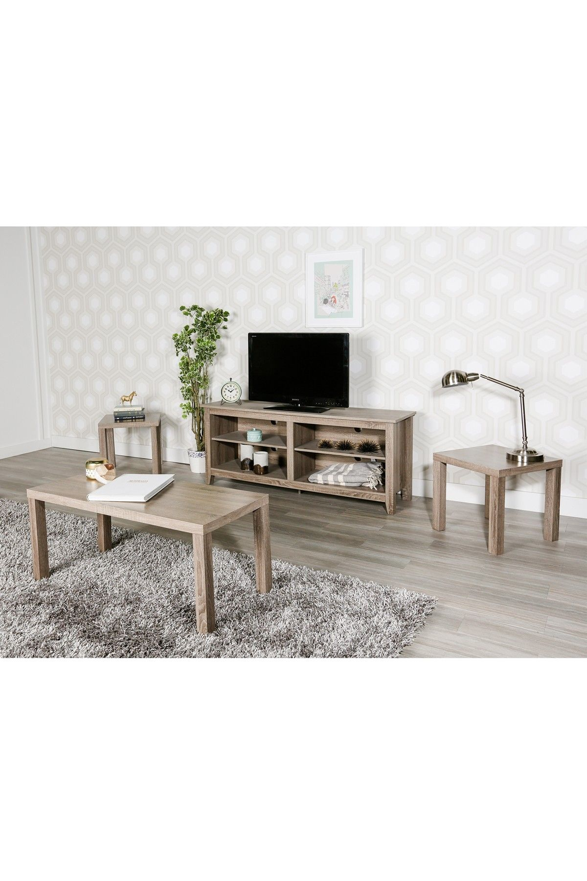 Walker Edison Furniture pany Driftwood Coffee End Table 3 Piece
