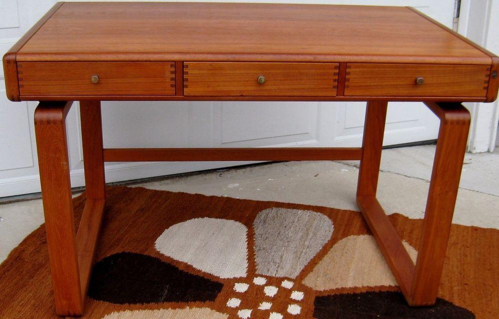 Vintage Mid Century Danish Modern Teak Desk Vintage Scandinavian