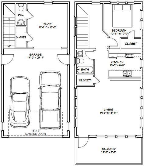 20 X 40 1 Bedroom 1 5 Bath Home With 2 Car Garage It Has A