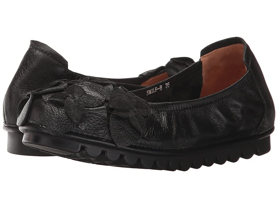 L'Artiste by Spring Step Smile (Black) Women's Shoes. You'll always have a reason to Smile with these stylish L'Artiste by Spring Step Smile flats on your feet! Stylish ballerina flat. Hand painted leather uppers. Leather flower appliques. Unlined. Round toe. Synthetic leather insole. Rubber outsole for durable wear. Imported. Measurements: Weight: 10 oz Product measurements were taken using size 38  width M. Please note that  #L'ArtistebySpringStep #Shoes #ClosedFootwear #GeneralClosedFootwear