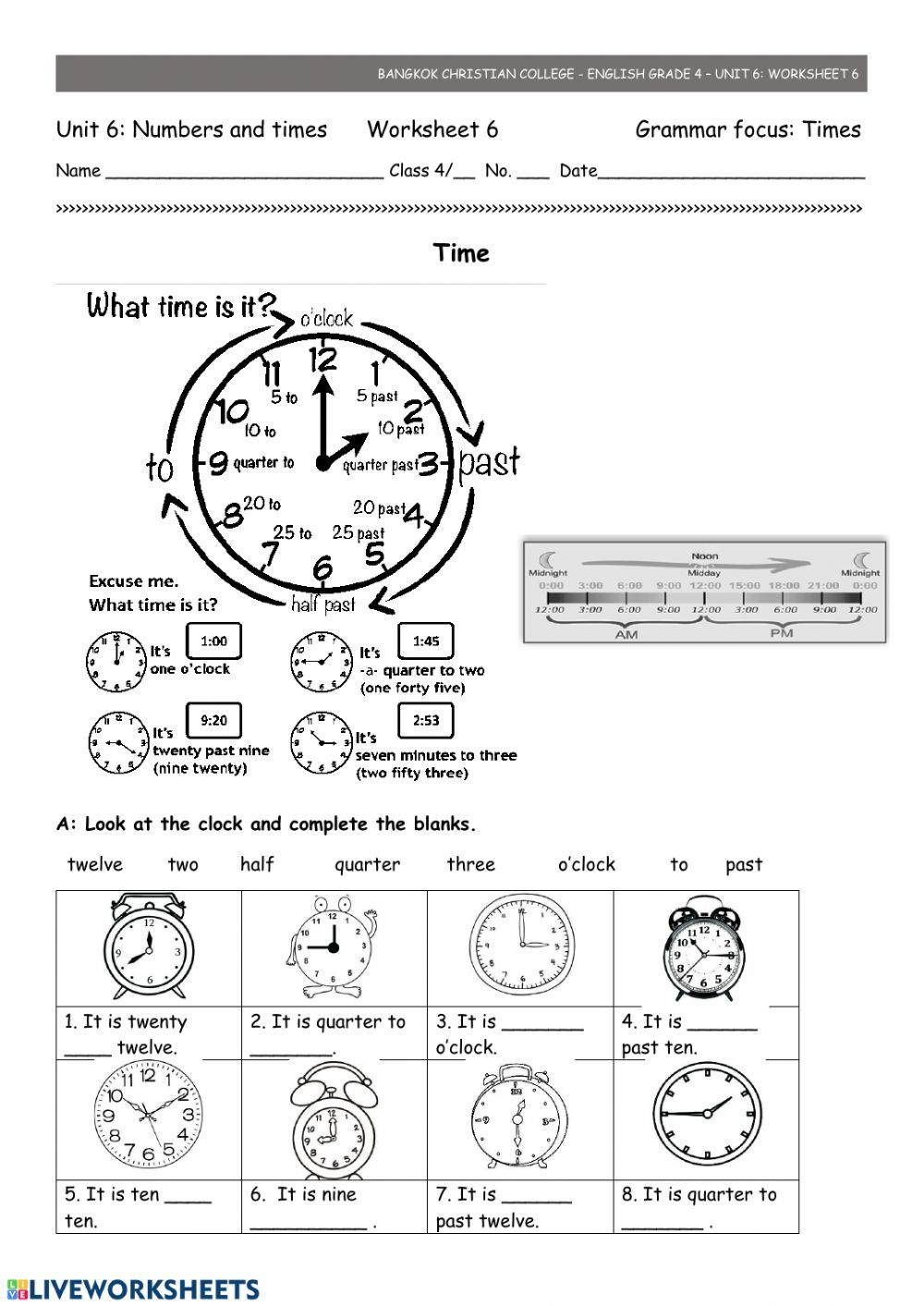 Telling time ws 6 Interactive worksheet Worksheets