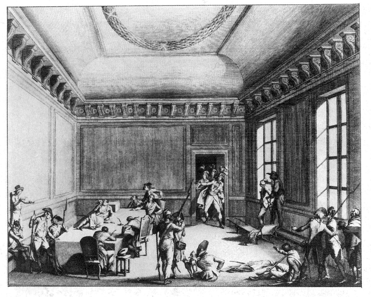 (1794, July 28) Robespierre (on the table) and his allies