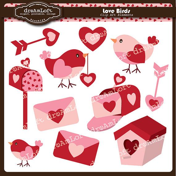 Valentine Clip Art Love Birds Clipart Elements For Valentine S Day