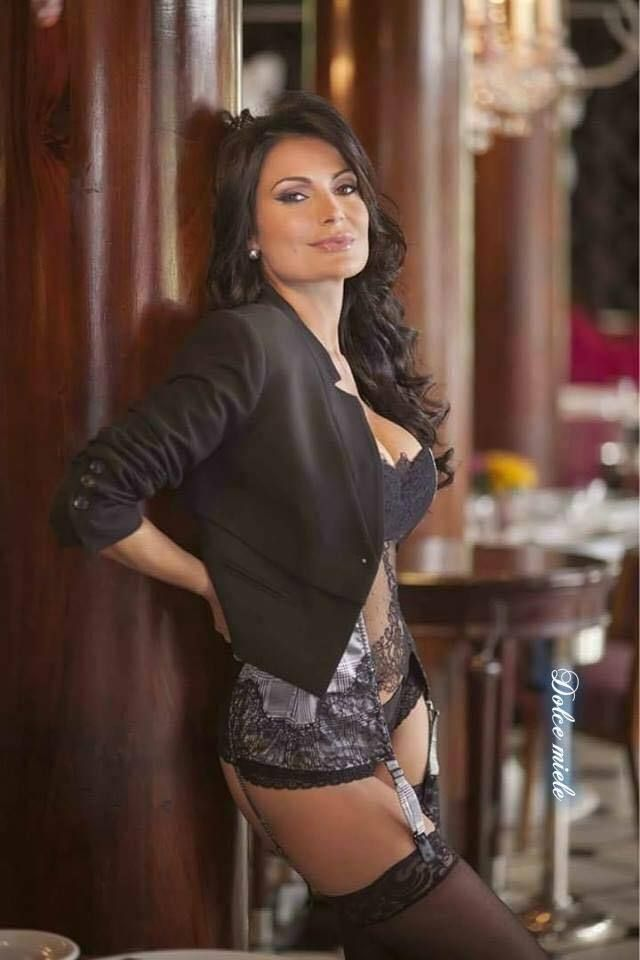 Mature brunette woman lingerie