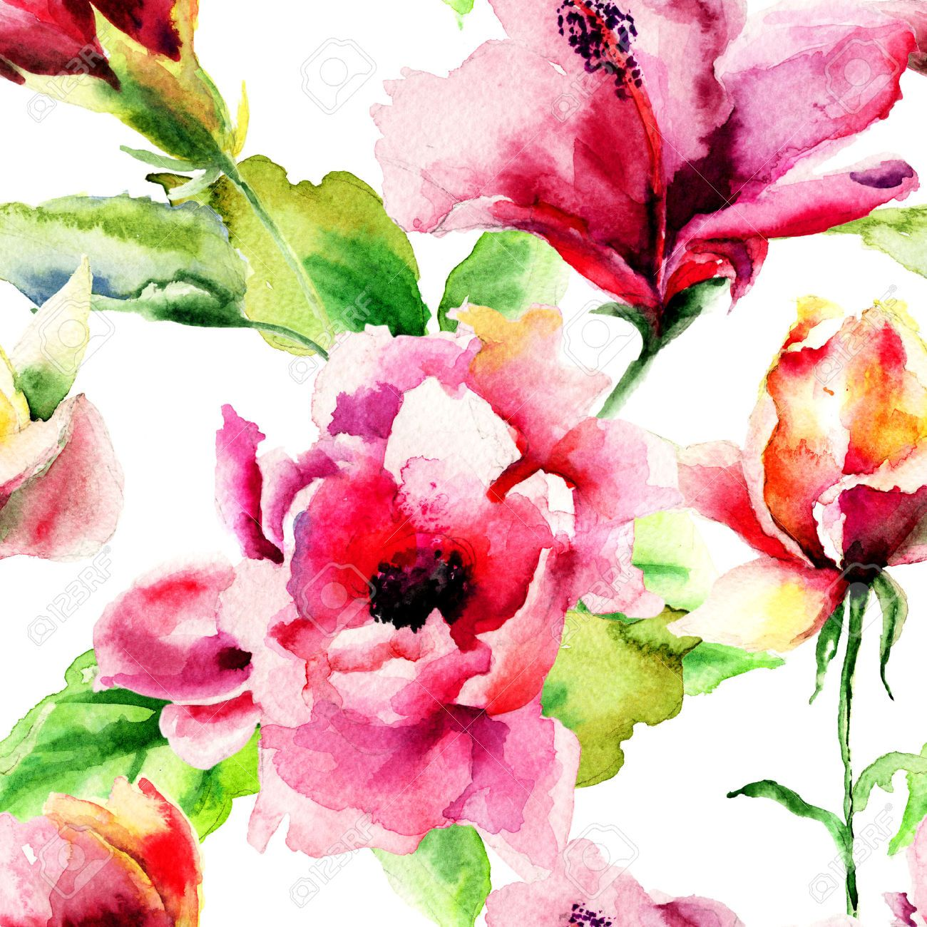 Free illustration watercolor pigment color free image - Le Immagini Di Seamless Pattern With Original Summer Flowers Watercolor Illustration Stock Photo