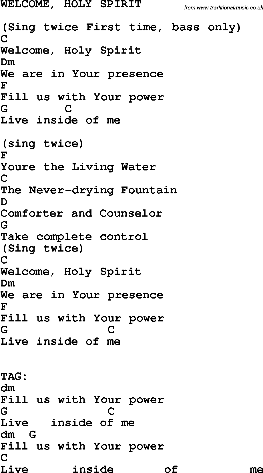 Lyric welcome holy spirit httptraditionalmusic country southern and bluegrass gospel song welcome holy spirit lyrics hexwebz Gallery