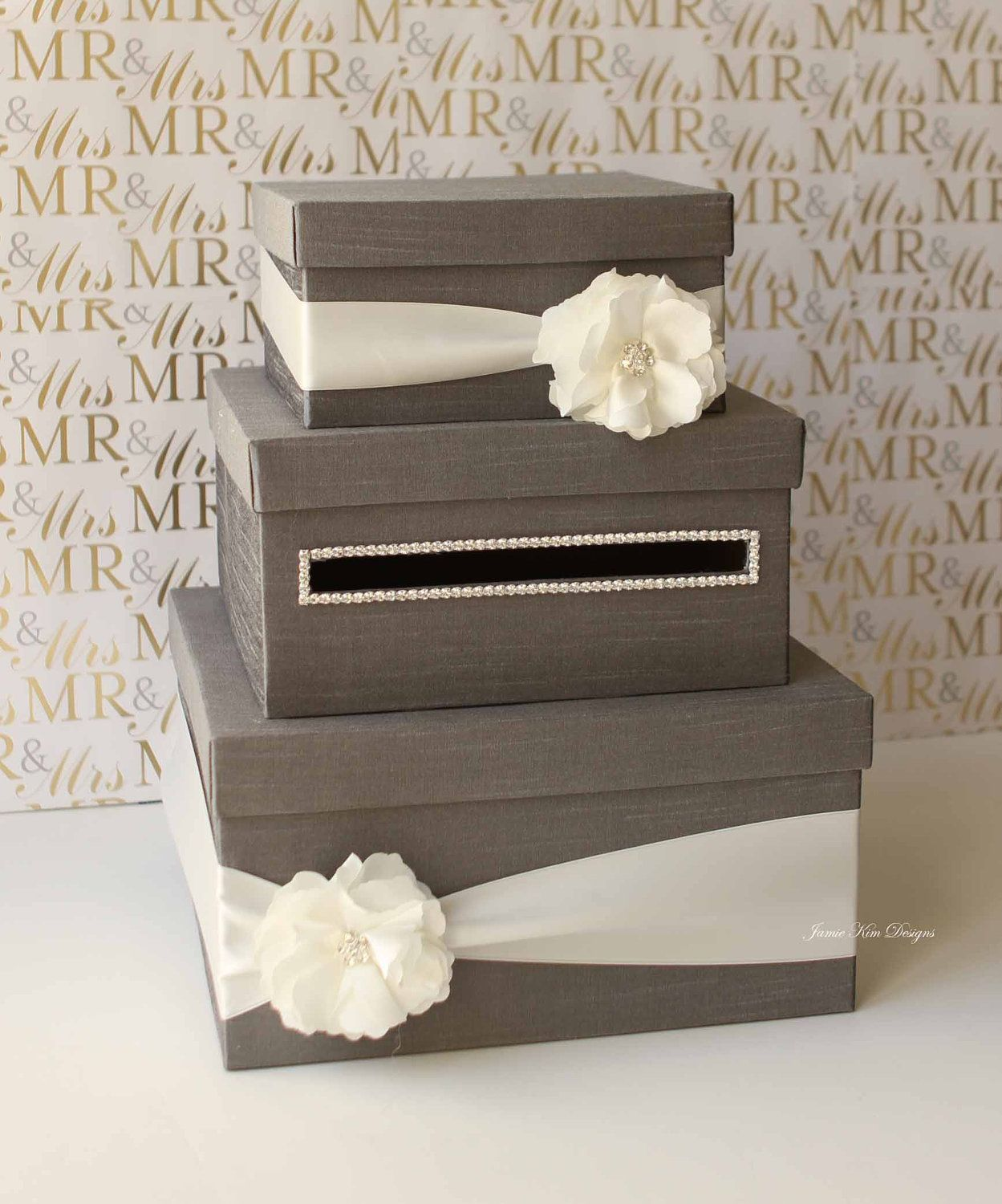 Idea For The Card Box I Like The Horizontal Approach To The Slot The Pearl Rim And The Shape Card Box Wedding Wedding Cards Wedding Card Holder