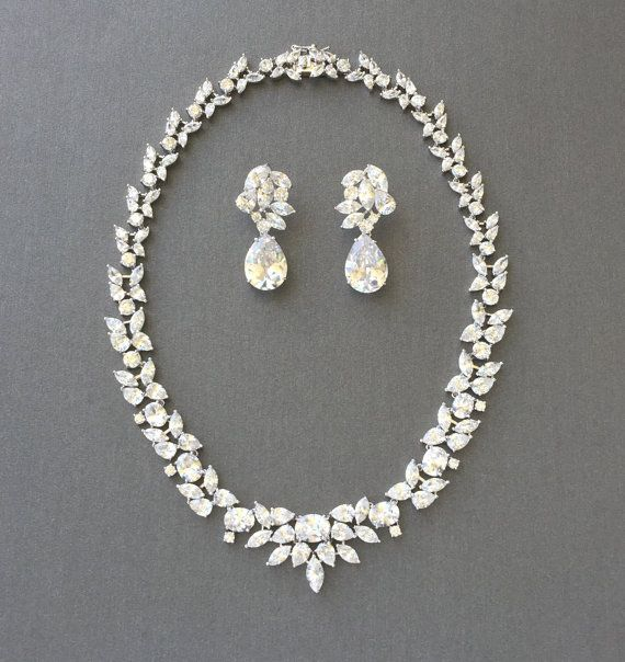 Cubic Zirconia Jewelry Set Wedding Necklace Set by SSCrystals