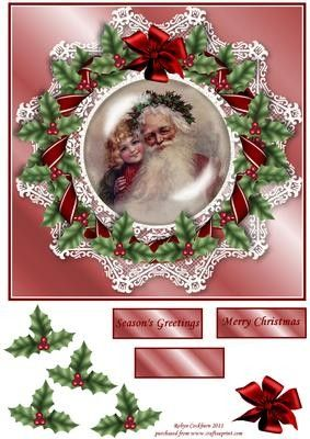 Vintage Santa on Holly Lace 8x8 Card Front on Craftsuprint designed by Robyn Cockburn - A vintage image of Santa Claus surrounded by a holly and lace wreath. - Now available for download!
