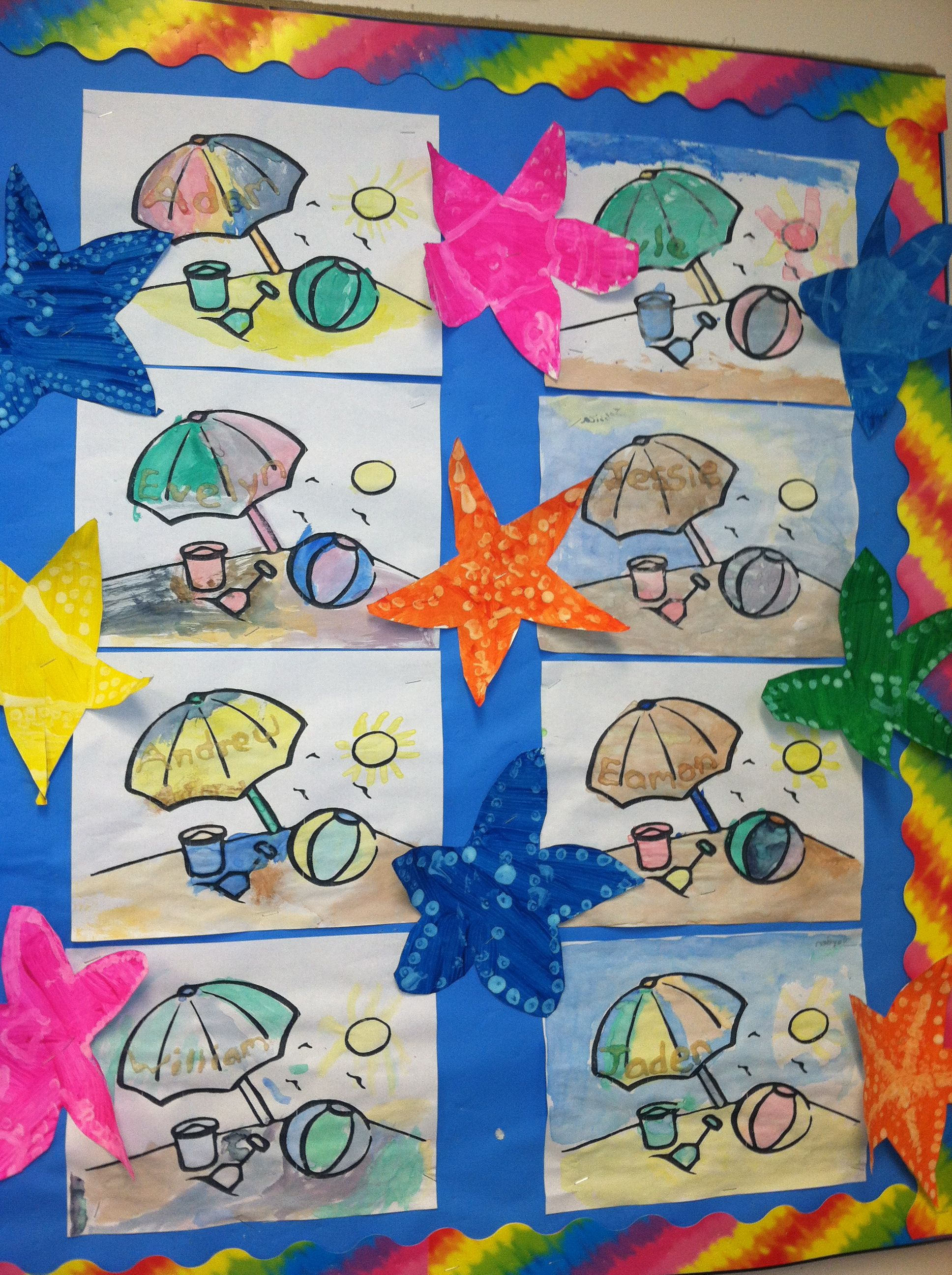 Two Beach Theme Crafts For A Bulletin Board Watercolor