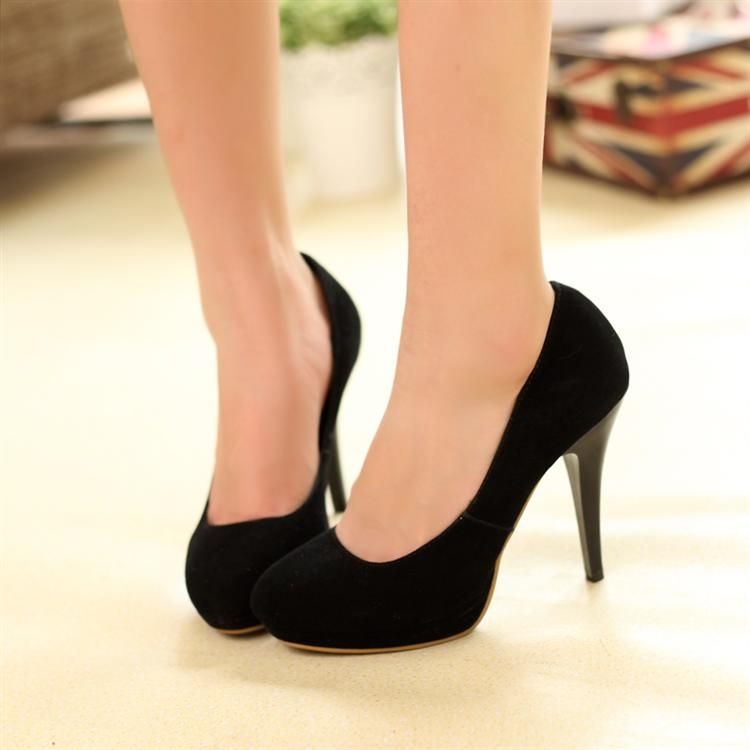 d693a7672194 Fashion Round Closed Toe Stiletto High Heel PU Pumps