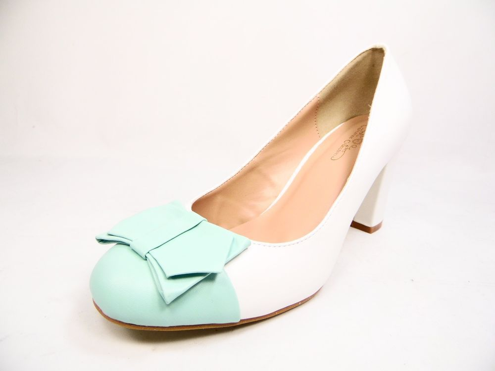 d4289af9f6e3 Journee Collection Tash Women Round Toe Synthetic Heels White Mint Size 7.5M