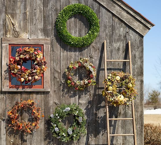 Outdoor Lit Boxwood Wreath Amp Garland Pottery Barn Pinecone Wreath Wreaths Decorative Pottery